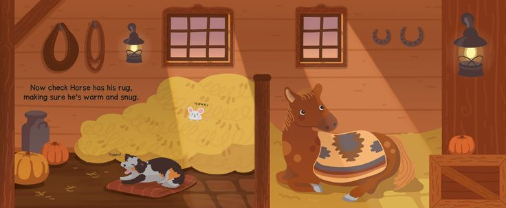 Night night bed time sleepy barn yard scene by Kitt Byrne #illustration #childrens #childrensillustration #barn #barnyard #yard #stable #manger #horse #pony #goodnight #sleeping #sleepy #bedtime #bedtimebook #books #childrensbook #childrensbooks #puppy #dog #hay #cute #vector #sunset #evening #autumn #fall #pumpkin #yawn #night