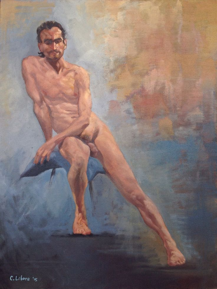 Seated Nude Male, by Cyprian Libera, oil on canvas, 18 x 24""