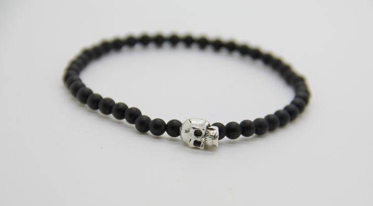 """bracelet homme skull et perles obsidienne amatie """"BLACK IS BLACK """" : Bijoux pour hommes par made-with-love-in-aiacciu"""