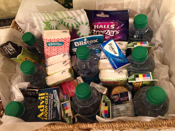 I made this Sympathy basket for a funeral service. Mini water bottles, mints, TicTacs, Gum, Pepto Capsules and Tums for upset/nervous stomachs, Advil for headaches, individual packs of tissue, peanut butter crackers and granola bars (for long days with visitation right before funeral where the family may not eat for half a day), multi-pack Blistex and cough drops. Many things a grieving family may need before, during and after a funeral service. Drop off before visitation hours.