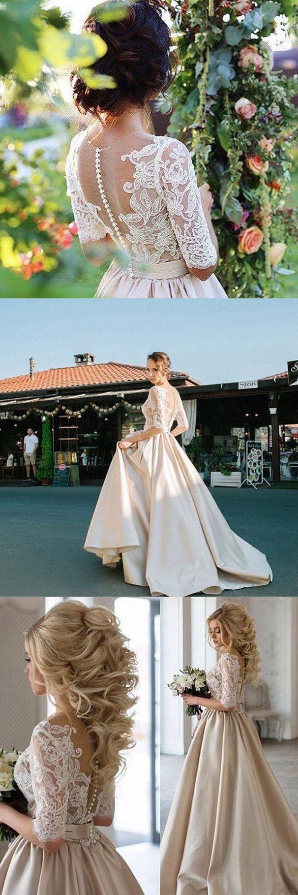 2017 half sleeves white lace wedding dress, modest wedding dress,2017 prom dress, long prom dress, half sleeves prom dress, champagne prom dress with white lace