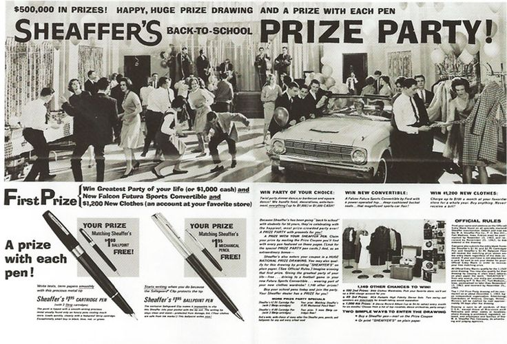 Advert for Sheaffer's back-to-school prize party