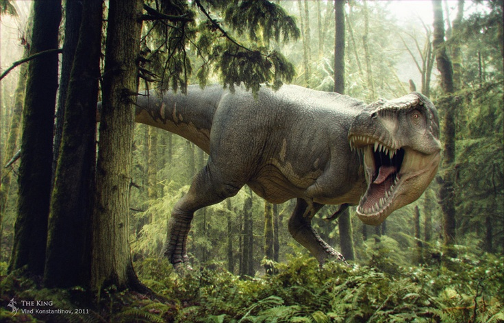 A Tyrannosaurus roars in frustration, as it searches relentlessly through a cretaceous forest.