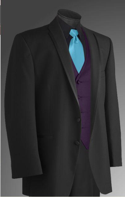 Handsome black tux black shirt purple vest blue tie for Ties that go with purple shirts