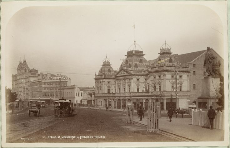 Cable tram outside the Princess Theatre, Spring Street, Melbourne, c1892-1900. Photograph courtesy State Library Victoria / Charles Rudd..