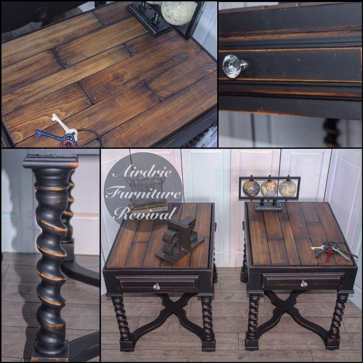 What lovely end tables these are by Airdrie Furniture Revival! Distressed with Lamp Black Milk Paint and stained with Antique Walnut Gel Stain.