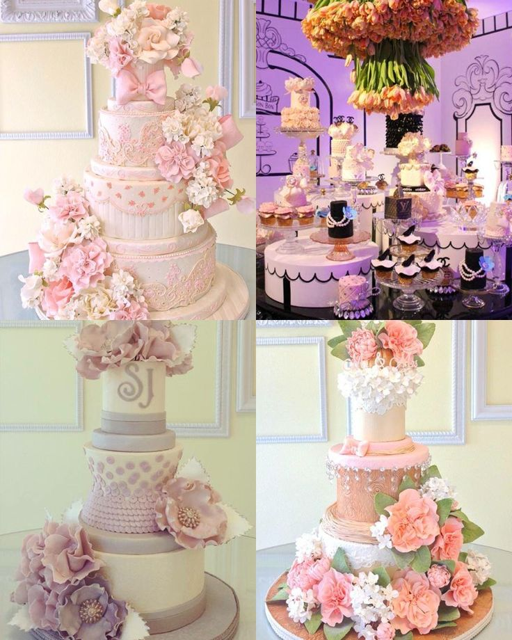 These drop-dead gorgeous wedding cakes from Lindsey Sinatra of A Wish And A Whisk Cakes are sure to wow your wedding guests at the reception. I'm in love with the exquisite sugar flower and ruffle details of these cakes. Take a look! Click the image to enlarge and pin your favorite cakes.