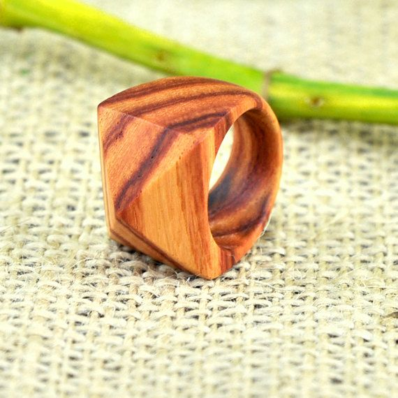 Handmade Wood Faceted Ring in Tulipwood. $35.00, via Etsy.