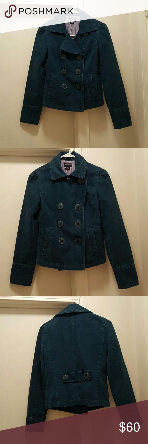 Womens American eagle jacket Super cute green American eagle blazer, size small, double breasted, gathered or very slightly puffed shoulders. Worn only a few times. American Eagle Outfitters Jackets & Coats Blazers