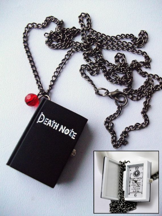 Death Note Pocket Watch Long Necklace With by RockerDollJewellery.... MUST HAVEEEEEE!!!!!