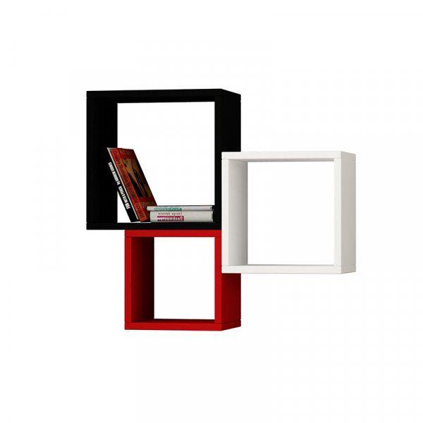 Ραφιέρα τοίχου βιβλιοθήκη Kutugen χρώμα μαύρο, λευκό και κόκκινο 35/30/25x22x35/30/25