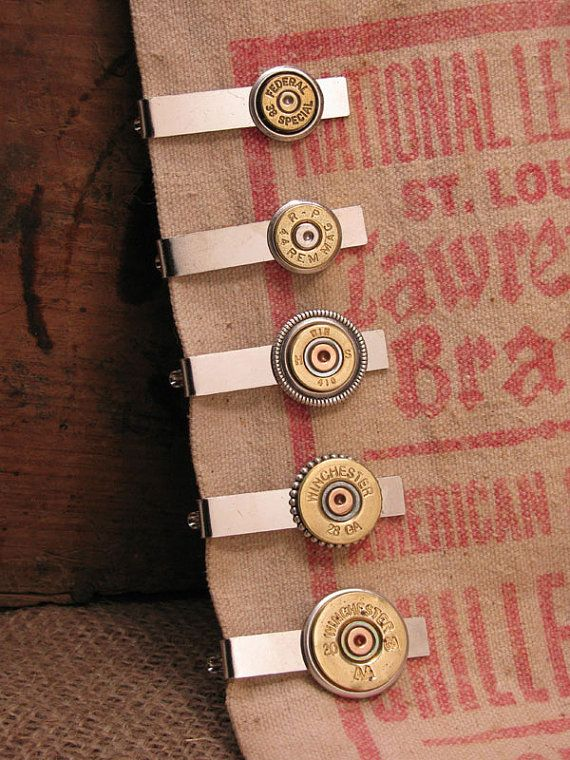Men's Accessories - Bullet Casing Jewelry - Shotgun Casing Jewelry - Men's Silver Tie Bar / Tie Clip / Tie Tack - Groomsmen Gifts