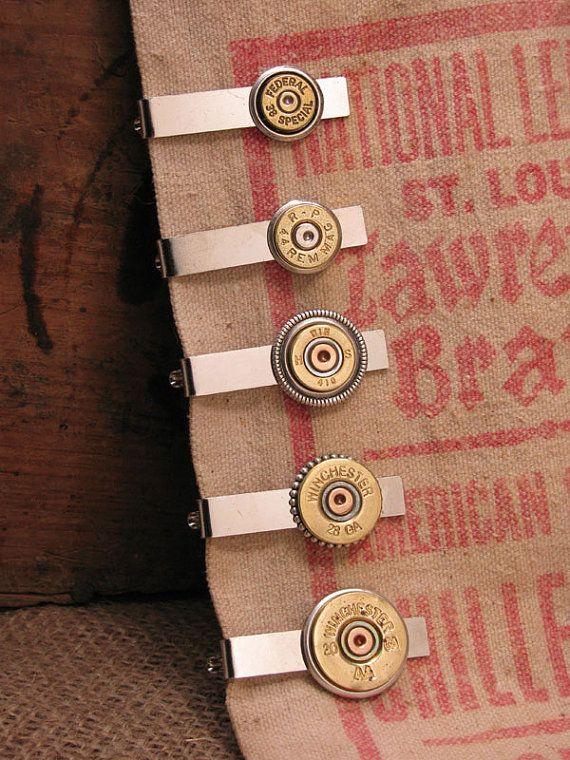 Men's Accessories - Bullet Casing Jewelry - Shotgun Casing Jewelry - Men's Silver Tie Bar / Tie Clip / Tie Tack - Groomsmen Gifts
