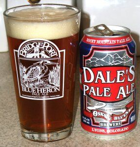 17) Oskar Blues Brewing Company = Dale's Pale Ale 3.85/5.0    Nose features citrus, lemon, orange and piney hops with subtle malt sweetness on the end.  The taste is a little subdued from the nose, but still very good. Nice earthy/piney hoppiness followed by a sweet citrusy malty backbone. Nice Balance.  Medium bodied. Medium carbonation. Very crisp and refreshing!  An easy drinker. Very smooth and tasty. An APA classic!