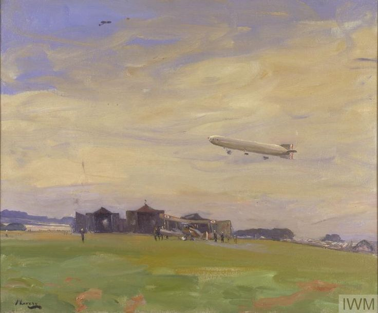 The Aerodrome, East Fortune, North Berwick, 1918. The starting-point for British airships of the North Sea Air Patrol  John Lavery, 1918