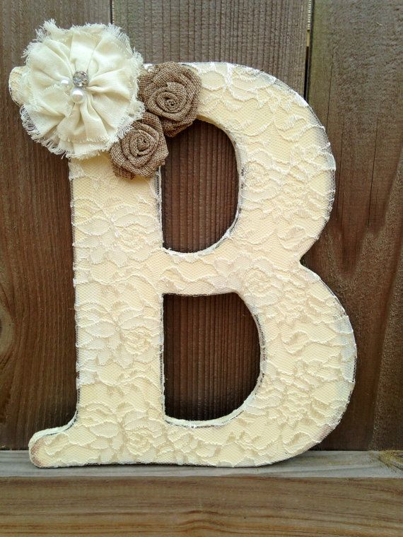 "12"" Lace letter for wedding, shower or nursery on Etsy, $26.00"