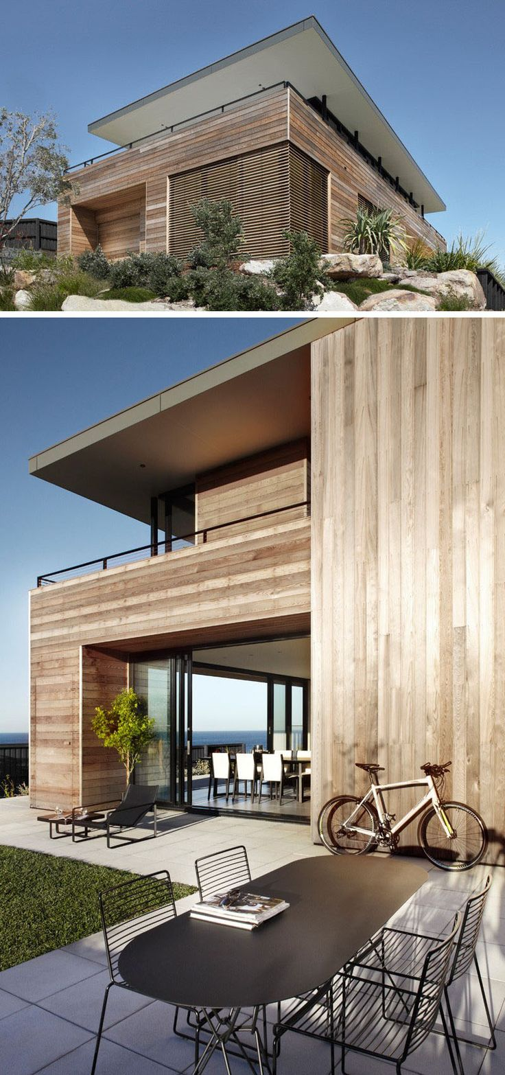 14 Examples Of Modern Beach Houses // Light wood paneling covers the exterior of the Australian beach house that opens up wide to show off the incredible views of the beach.