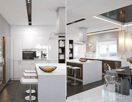 Кухня. Проем в зону кухни было решено заложить, а в образовавшуюся нишу со стороны кухни встроить витрину для посуды. Вся мебель кухни выполнена на заказ. Глянцевые белые фасады - МДФ, темные с текстурой дерева - ДСП, столешница - Corian. Проем до потолка из гостиной в столовую подчеркнут белой полосой из мраморных плит по полу и черным прямоугольником натяжного потолка. По оси проема расположился обеденный стол. Стулья Kartell из прозрачного пластика. На стене биокамин, рельефная плитка…