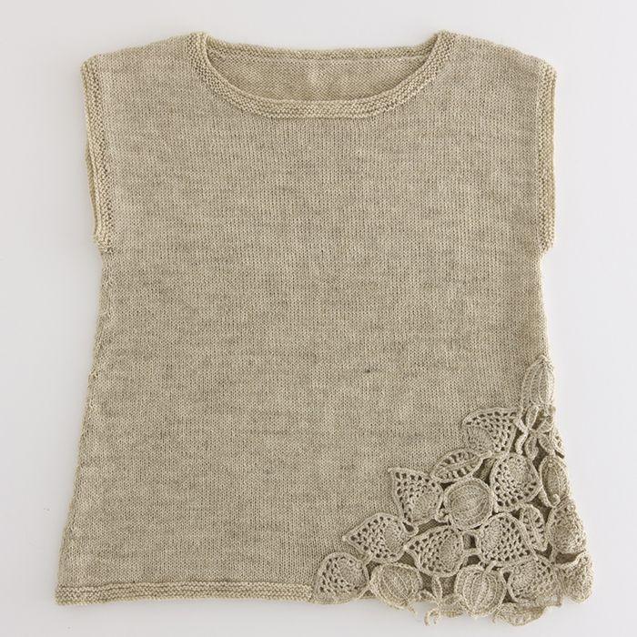 crochet leaf knit vest