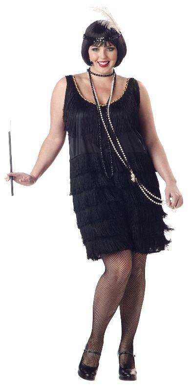 Plus Size Fashion Flapper Costume (Black) for Halloween - Pure Costumes