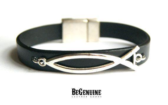 MEGA SALE Men Leather bracelet, Christian Leather Bracelet, Christian Fish Jewelry, Christian men gift, Fish symbol bracelet, Christian Jewe