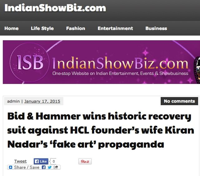 Bid & Hammer wins historic recovery suit against HCL founder's wife Kiran Nadar's 'fake art' propaganda, 17th Jan 2015, IndianShowBiz