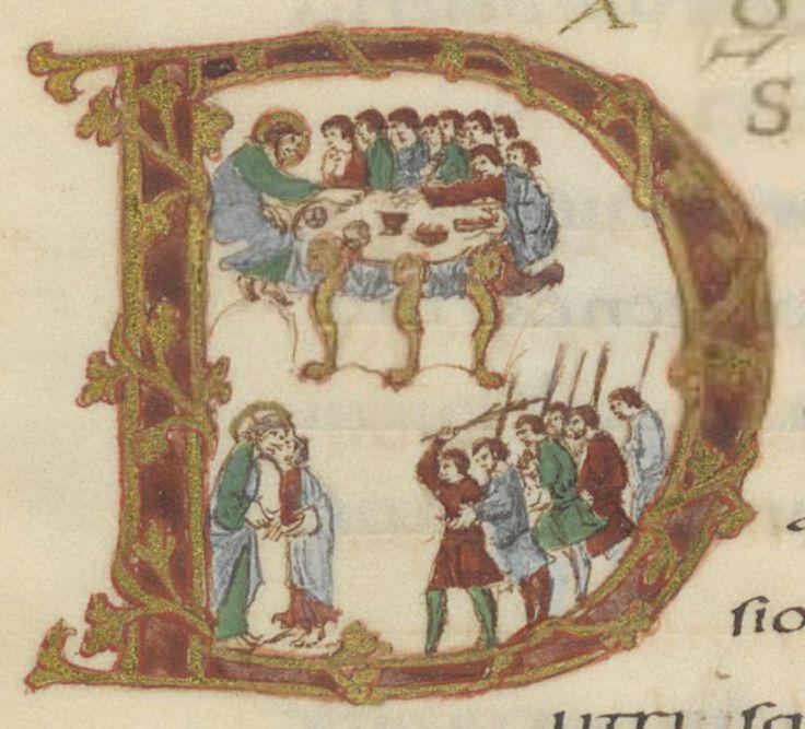 Cène, baiser de Juda et arrestation du Christ, sacramentaire de Drogon.jpg