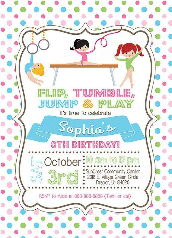 Gymnastics Birthday Invitation Gymnastics by SweetBeeDesignShoppe