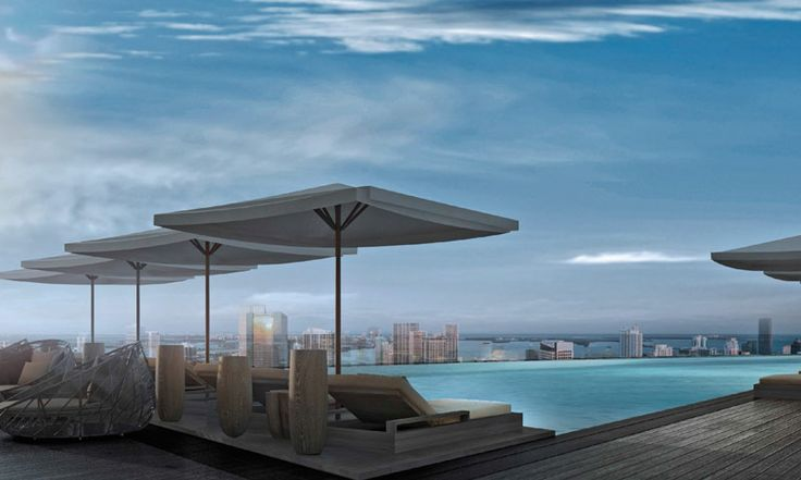 Pool deck on top of the 66 floors high Aston Martin Residences building, Miami