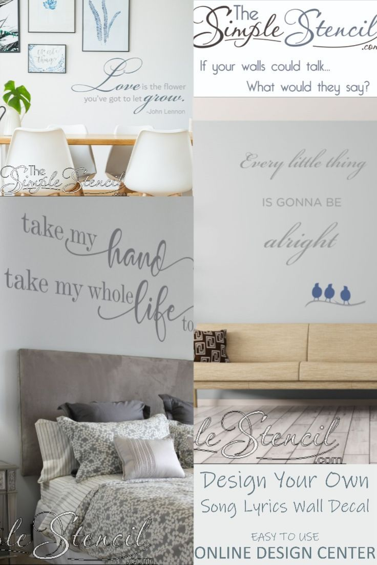 Song Lyric Wall Art Decals Romantic Gift And Decor Ideas Easy Install For Master Bedroom Makeover In 2020 Music Wall Decal Music Room Wall Vinyl Wall Lettering