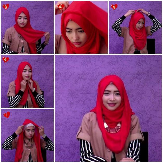 Cara Memakai Hijab Pashmina Kaos