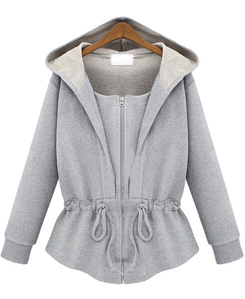 Grey Hooded Long Sleeve Drawstring Loose Sweatshirt 22.67