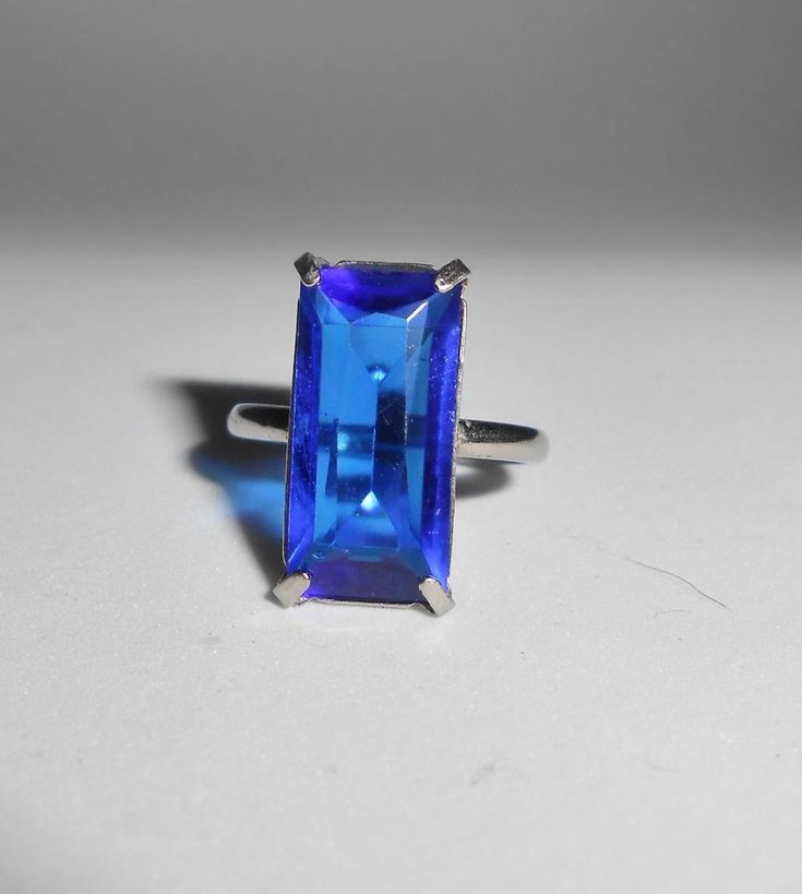 Sapphire Blue Sterling Silver Cut Glass Vintage Ring Size 4 Art Deco #Unbranded #Solitaire