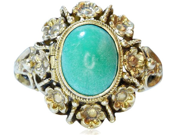 Ring Turquoise  Türkis- Cabochon mit 750 Gold als Giftring