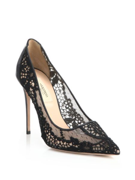 Valentino - Lace Point-Toe Pumps