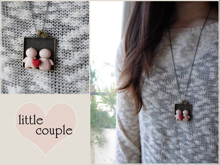 little couple heart necklace | miniature polymer clay cute jewelry | sweet | fimo