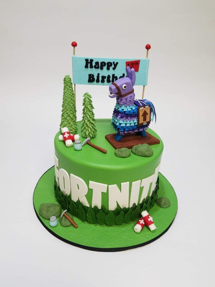 Fortnite cake and the loot llama is completely edible