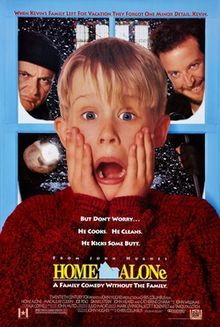 Home Alone - American Christmas comedy film written and produced by John Hughes and directed by Chris Columbus. The film stars Macaulay Culkin as Kevin McCallister, a boy who is mistakenly left behind when his family flies to Paris for their Christmas vacation. Kevin initially relishes being home alone, but soon has to contend with two would-be burglars played by Joe Pesci and Daniel Stern.