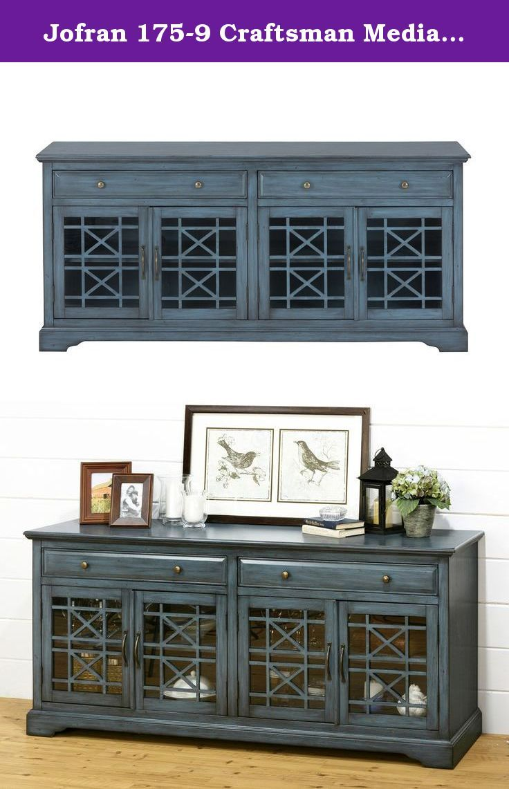 """Jofran 175-9 Craftsman Media Unit, 70"""", Antique Blue. This 70"""" media and storage unit features a uniquely distressed blue finish with two drawers and four glass doors. With """"X"""" motif detailing on the doors and rugged hardware, this eclectic piece will add flavor to any room."""
