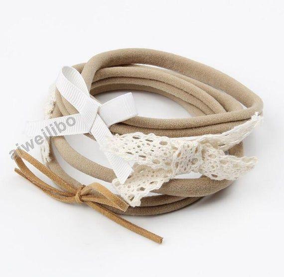 10Pcs Baby Spandex Elastic Nylon Headband Skinny Stretchy Non-Marking Headwear