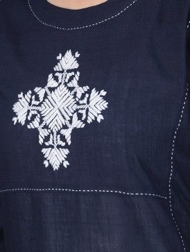 Navy Blue-Ivory Round Neck Cotton Kurta with Phulkari Embroidery