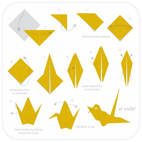 how to fold paper cranes // DIY-Have students observe and label the math terms as folding proceeds such as line of symmetry, isosceles triangle, quadrilateral, right angle, obtuse/acute angle, etc.