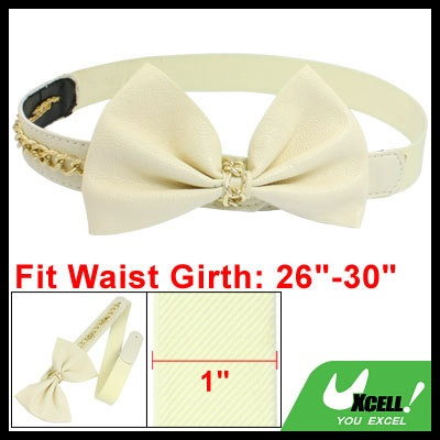 Chain Link Bowknot Bowtie Decor Stretch Cinch Belt Band Off White  $5.50