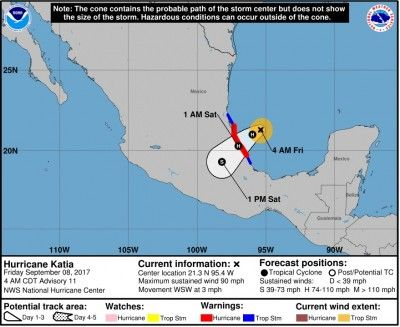 Huracán Katia cobra fuerza e inicia avance hacia la costa oriental de México