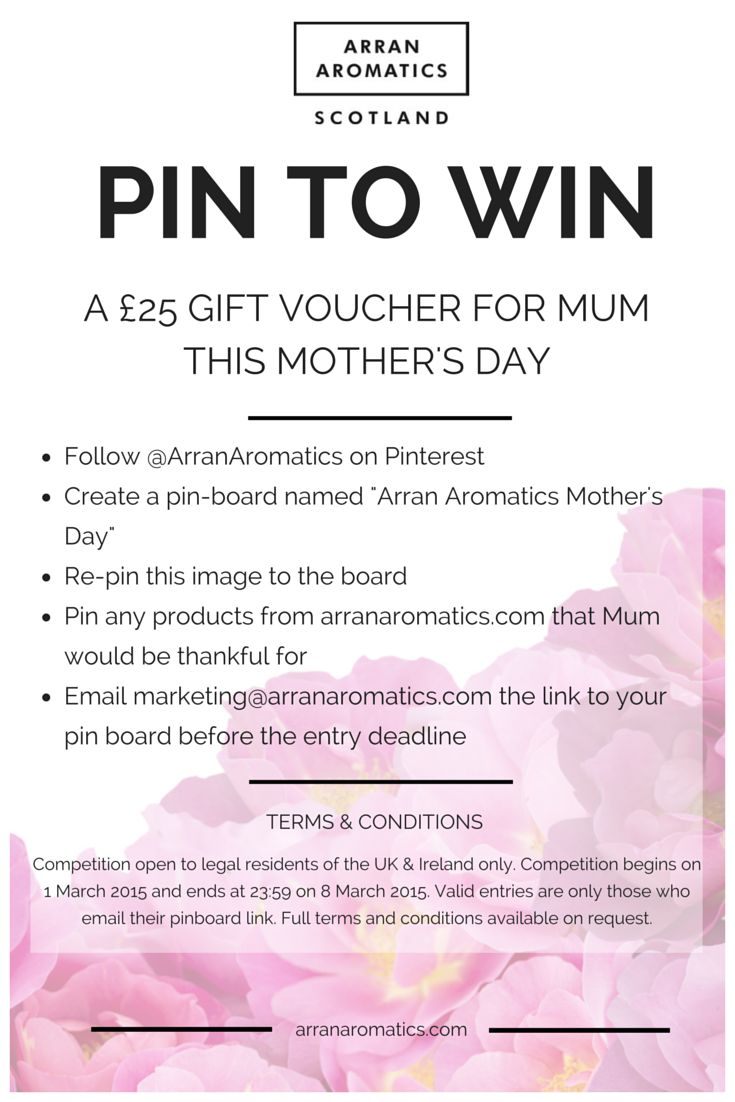 WIN Mum an Arran Aromatics Gift Voucher by following the instructions. Good luck! Competition closes at 23:59 on 8th March 2015.