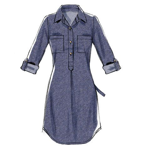 M6885 Semi-fitted, pullover dresses have collar, collar/front bands, front pleat and narrow hem. C: purchased belt. #mccallspatterns #shirtdress