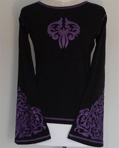 Purple lotus flare sleeve top.