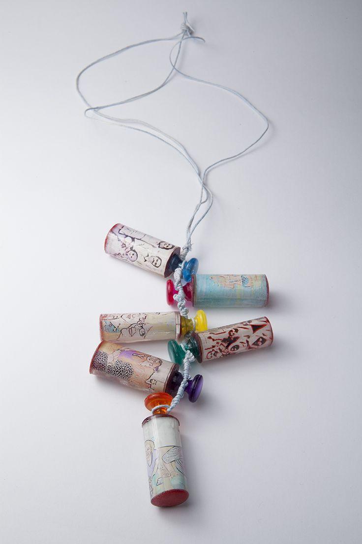 """Precious"" Necklace (Resin, cotton rope, plastic, photo paper)"