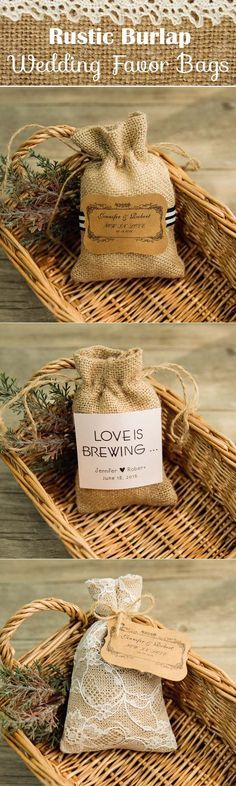 rustic burlap wedding favor bags