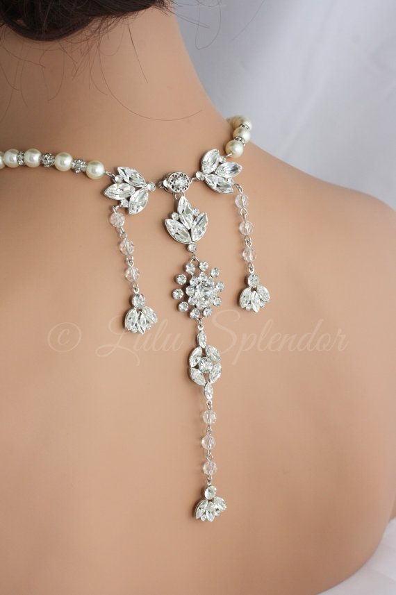 if I ever get married again think I need this Bridal Backdrop Necklace Crystal Wedding Back Drop by LuluSplendor